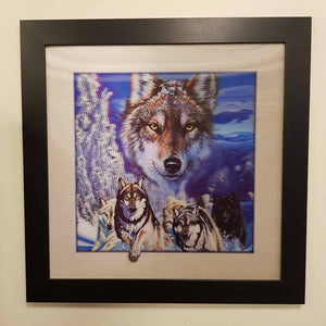 5D Wolf Pack Framed Picture. (approx. 46x46cm)
