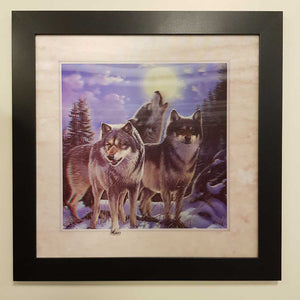 5D Wolves in Moonlight Framed Picture. (approx. 46x46cm)