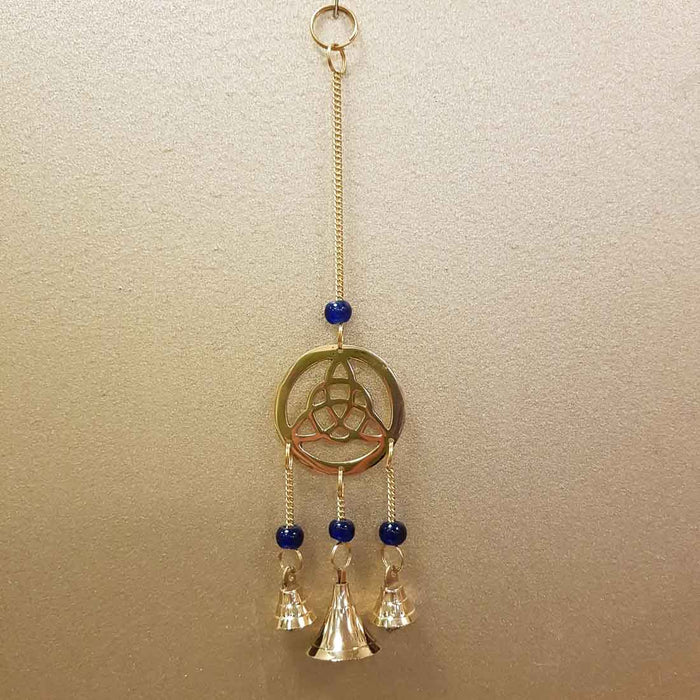 Triquetra Hanging Bells with Blue Beads (brass. approx. 23x5cm)