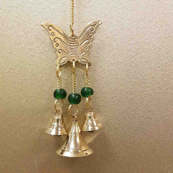 Butterfly Hanging Bells with Green Beads (brass. approx. 23x5cm)