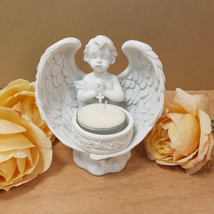 Praying Cherub Angel with Cross Candle Holder. (approx 27cm)