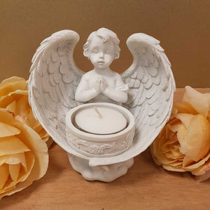Praying Cherub Angel Candle Holder. (approx 27cm)