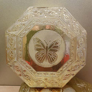 Hexagonal Butterfly Trinket Box with Gold Metalic Finish (velvet lined approx. 20x20x5cm)