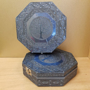 Hexagonal Tree of Life Trinket Box with Blue Metalic Finish (velvet lined approx. 20x20x5cm)