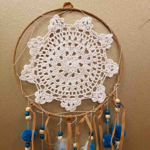 Pompom Dreamcatcher in Teal and White