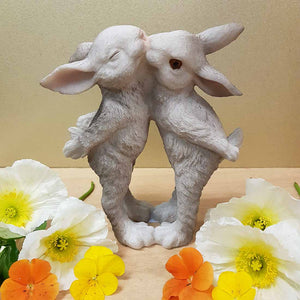 Kissing Rabbits. (grey approx. 18cm)