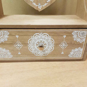 Boho Dresser with Heart Mirror. (approx. 28x20x9cm)