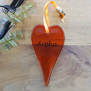 Orange Aroha Glass Heart. (approx. 13x7cm)
