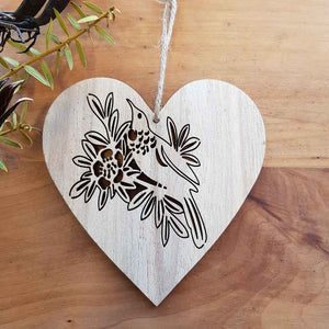 Tui on Wooden Heart Hanging. (approx. 12x12cm)