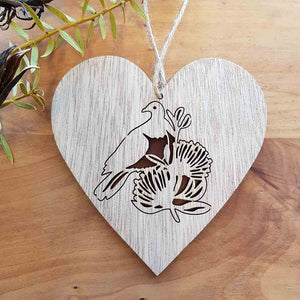 Kereru on Wooden Heart Hanging. (approx. 12x12cm)