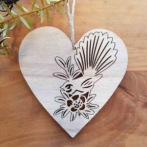 Fantail (Piwakawaka) on Wooden Heart Hanging. (approx. 12x12cm)