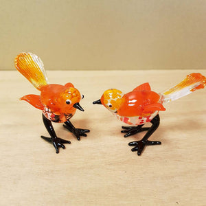 Orange Glass Bird. (approx. 7x7.5cm)