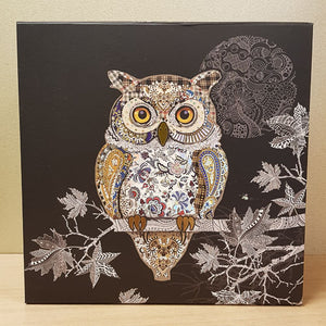 Foiled Owl Box (approx. 22x22x13.5cm)