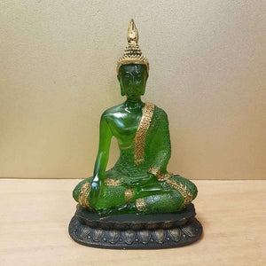 Green & Gold Buddha (resin. approx. 21x14x10cm)
