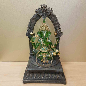 Green & Gold Ganesh (resin. approx. 26x15x12cm)