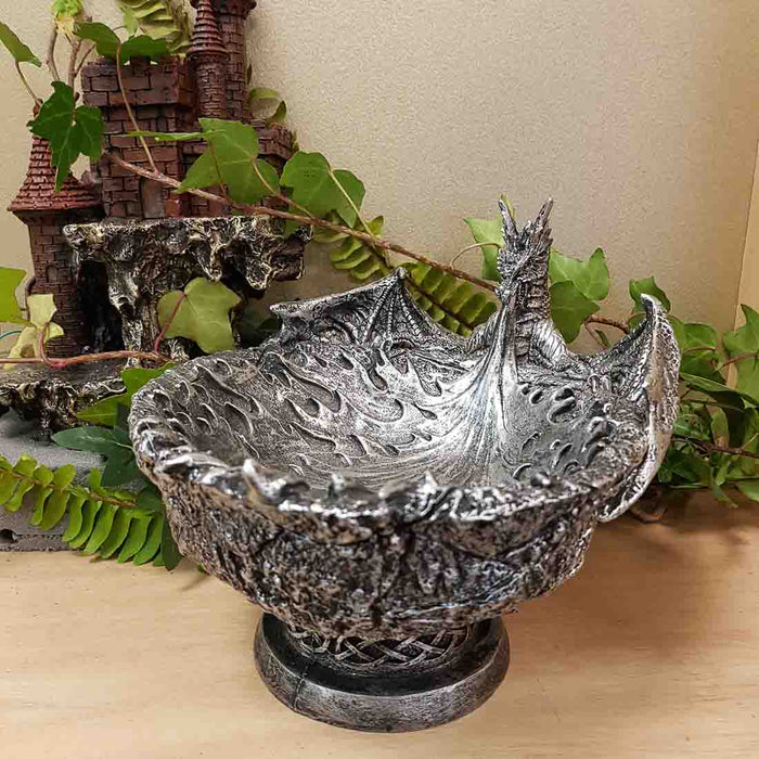 Silver Dragon Fire Bowl (approx. 15x18x22cm)