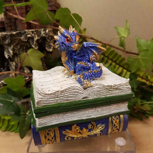 Blue Dragon Spellbook Trinket Box (approx. 9x5x5cm)