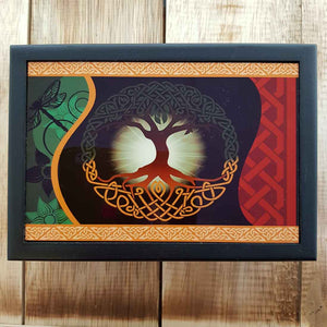 Tree of Life Ceramic & Wood Box (lined approx 17x12x6cm)