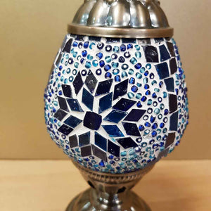 Blue & White Turkish Style Mosaic Lamp (egg shaped approx. 26cm)