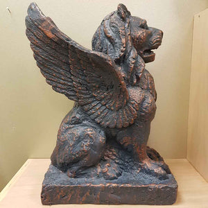 Bronze Look Winged Lion (approx. 39x19x30cm)