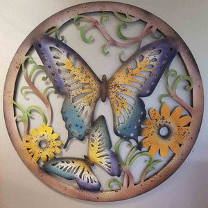 Butterflies Metal Wall Art (approx 70x70cm)