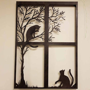 Cats Playing Metal Wall Art (approx 78x56cm)