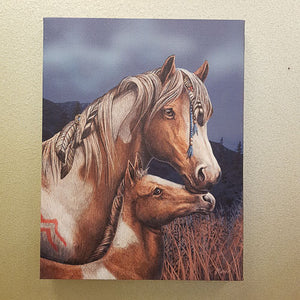 Apache Mother & Foal Canvas (approx. 25 x 19cm)