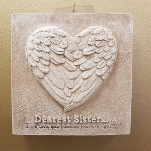 Dearest Sister Angel Wings Plaque (approx. 16x16x3cm)