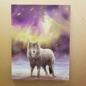 Wolf Aurora Lights Canvas. (approx. 25 x 19cm)