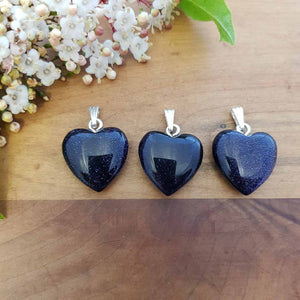 Blue Sandstone Heart Pendant (silver metal. 2cm man-made)