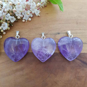 Amethyst Heart Pendant (assorted. approx. 3cm. silver metal bale)