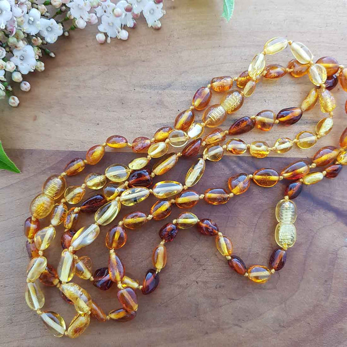 Baltic Amber Nugget Necklace (infant size. assorted colours & shaped beads)