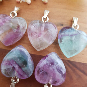 Rainbow Fluorite Heart Pendant (silver metal. assorted. approx 2cm)
