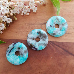 Amazonite Donut Pendant (assorted. approx. 3cm diameter)
