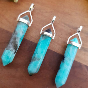Amazonite Point Pendant (assorted. sterling silver)
