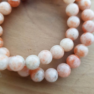 Sunstone Bracelet. (assorted approx. 8mm round beads)
