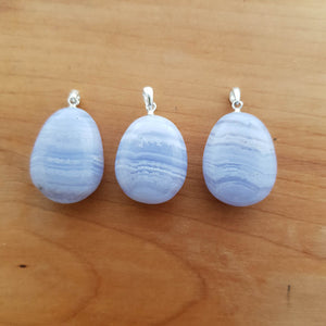Blue Lace Agate Tumbled Pendant (assorted. sterling silver bale)