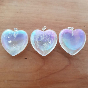 Angel Aura Quartz Heart Pendant (assorted. approx. 3cm. sterling silver bale)