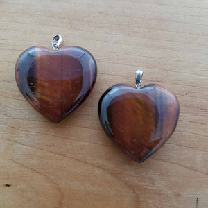 Red Tiger's Eye Heart Pendant (assorted. approx. 3cm. sterling silver bale)