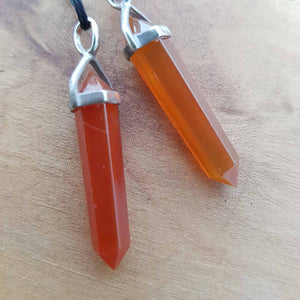 Carnelian Point Pendant (small. sterling silver)