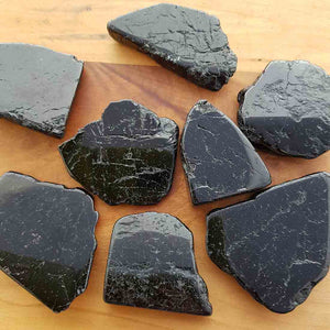 Black Tourmaline Polished Slab (assort. approx. 4-5x3-4.5cm but they really do vary)