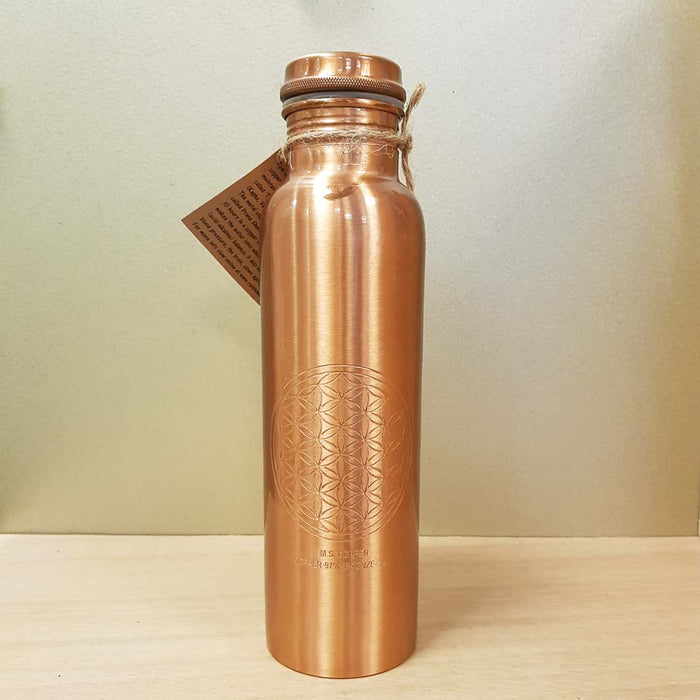 Copper & Bronze Water Bottle with Flower of Life Symbol