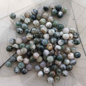 Green Tree Agate Bead (assorted. round. approx. 8mm)