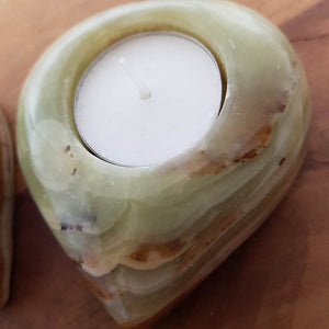 Marble Onyx aka Banded Calcite Heart T-Lite Candle Holder