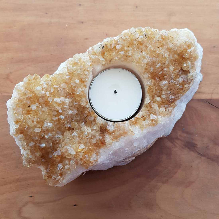 Citrine Cluster Candle Holder (heat treated, approx. 15x8x5.5cm)
