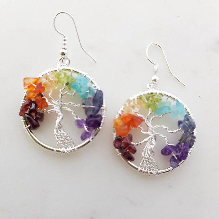 Chakra Tree of Life Earrings (silver metal)