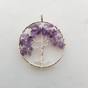 Amethyst Tree of Life Pendant (assorted. set in silver metal)