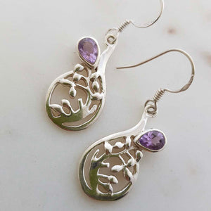 Amethyst Tree Earrings (sterling silver)