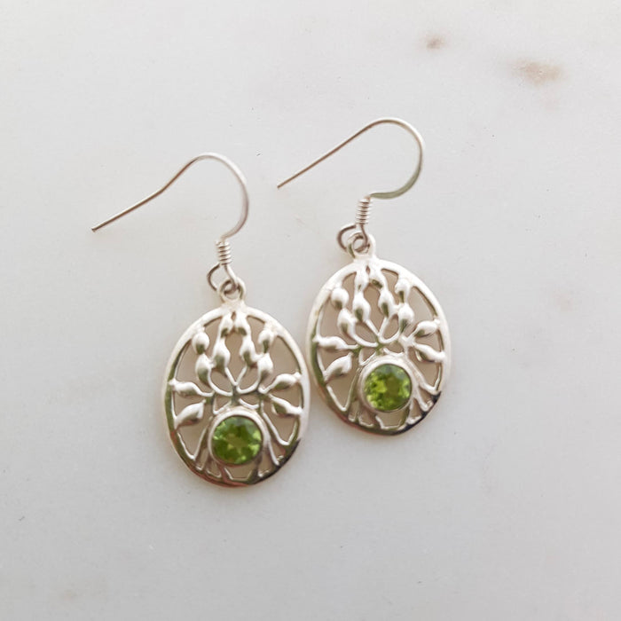 Peridot Tree of Life Earrings (sterling silver)