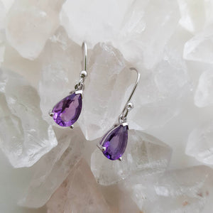 Amethyst Tear Drop Earrings (sterling silver)